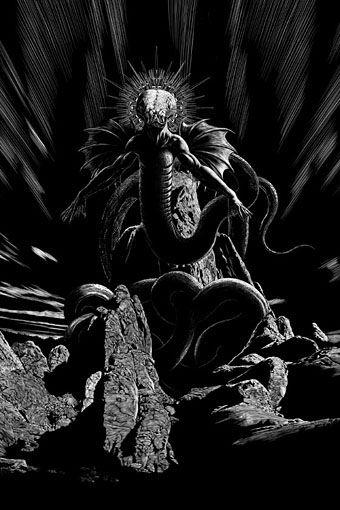 """Yig por John Coulhart, ilustración para el relato """"Rattled"""" de Douglas Wayne. El relato está incluido en la antología de JournalStone """"Gods of H. P. Lovecraft""""."""