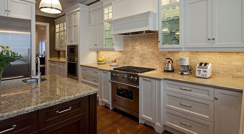white kitchen cabinets travertine backslash tile | kitchen | new