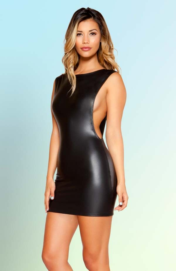 Leatherette Open Side Mini Dress Stunning Deep Side Slit