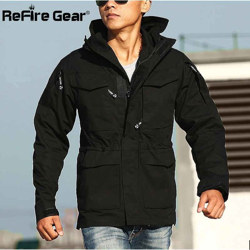 Camping & Hiking M65 Army Multi-pockets Clothes Tactics Outerwear Outdoor Windbreaker Men Winter Thermal Flight Pilot Coat Hoodie Military Jacket