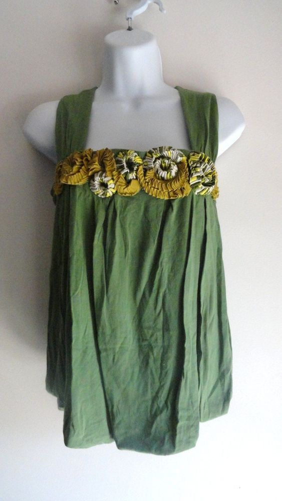 ANTHROPOLOGIE Green Applique Boho  Blouse Top Shirt Vintage Medium M #ANTHROPOLOGIE #Blouse