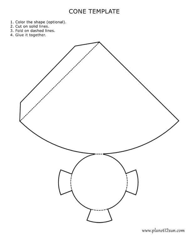 Printable 3D cone template. Color it, cut it out, fold it