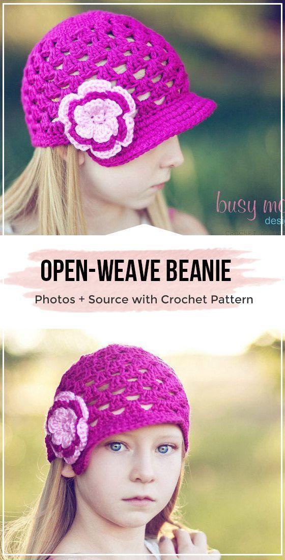 crochet Breezy Brimmer Open-Weave Beanie patterns (With ...