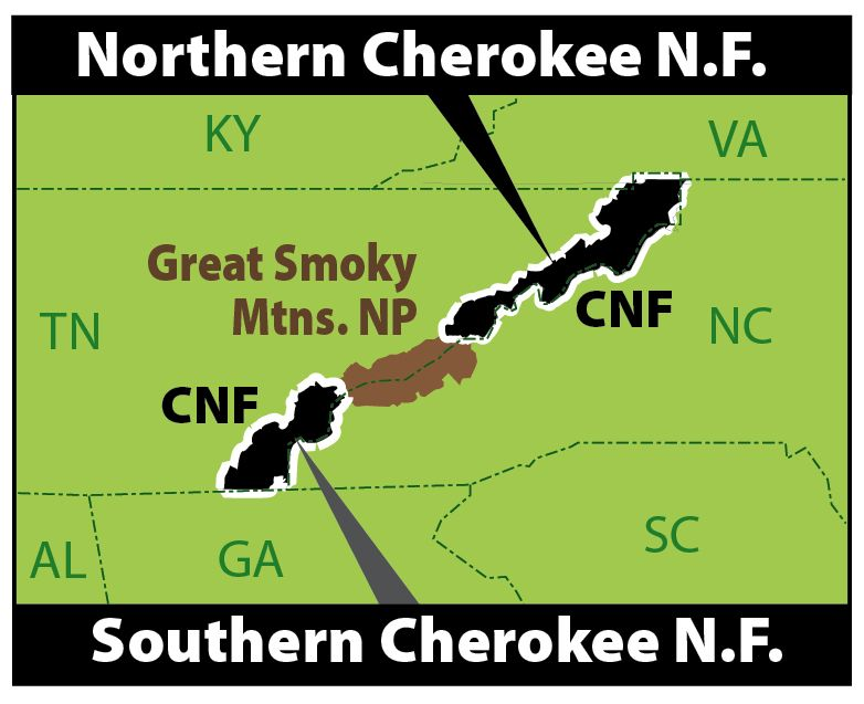 Public Lands Along Tn Nc Border Map Of The Cherokee