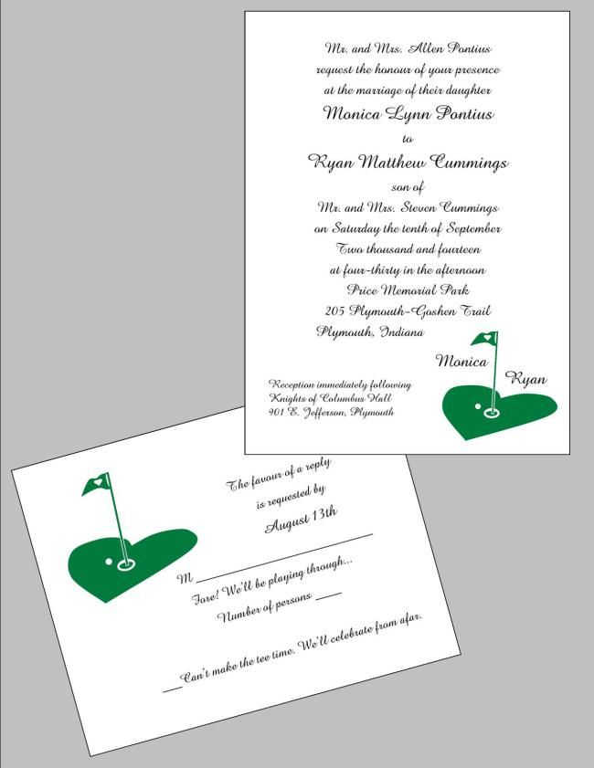 Golf Themed Wedding Invitation And Rsvp