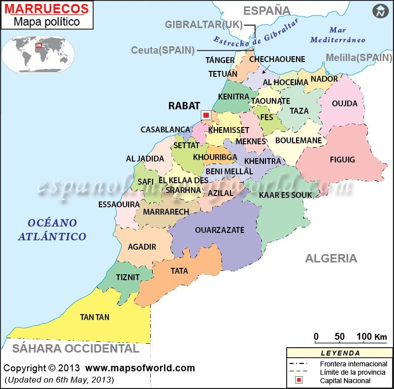 Mapa de Marruecos Marrakech Morocco and Africa