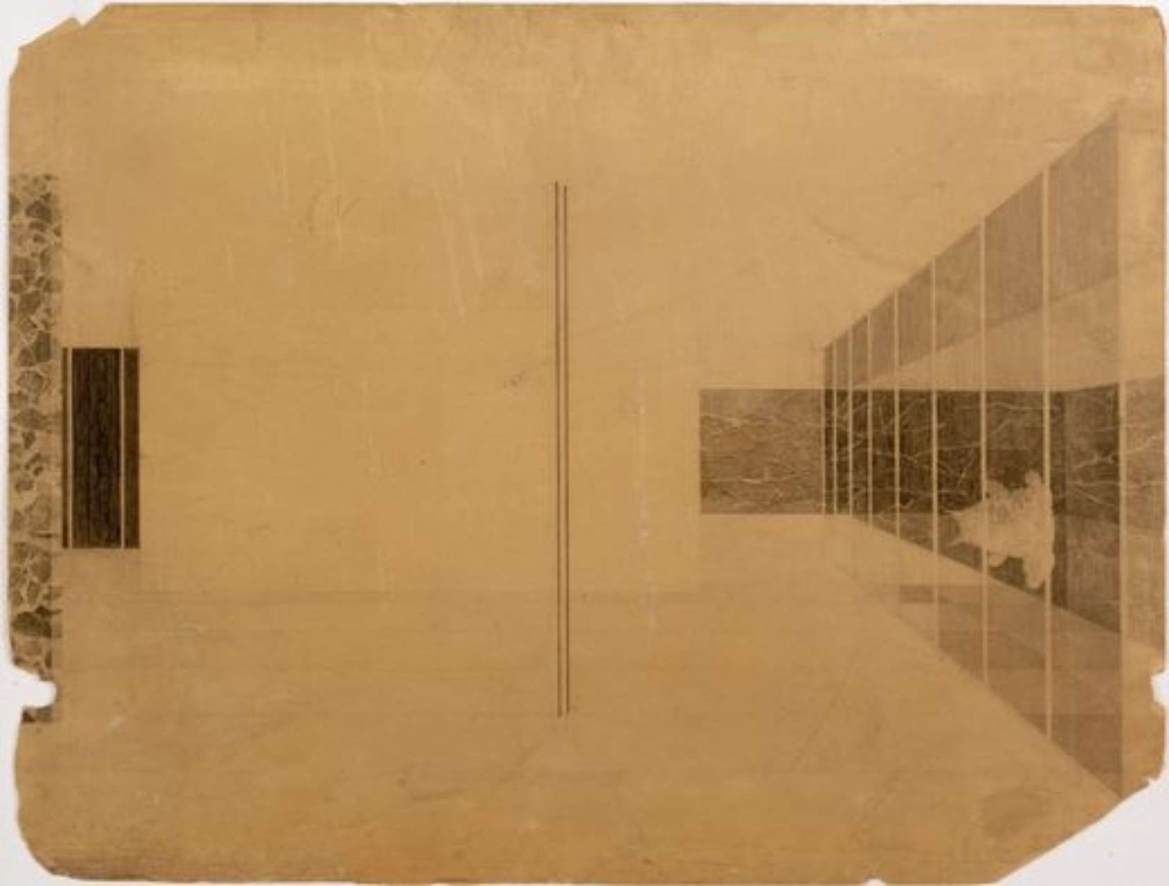 collage interior perspective barcelona pavilion ludwig mies van der rohe 1928 1929 for. Black Bedroom Furniture Sets. Home Design Ideas