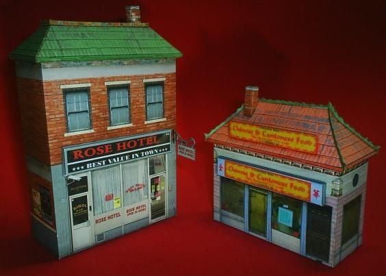 Free Scale Paper House Papermau: Rose Hotel And Chinese Restaurant Paper Models
