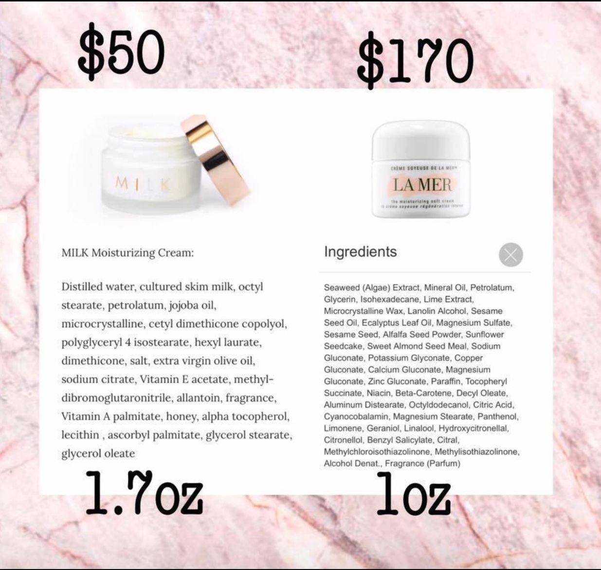 Compare Milk vs another leading brand Moisturizer cream