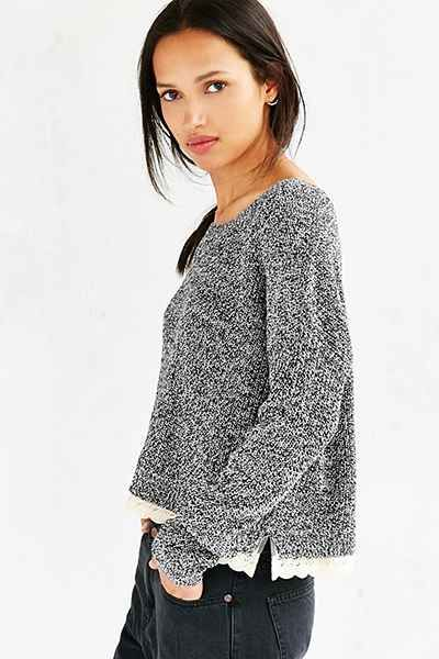 Kimchi Blue Lace Trim Cropped Sweater - Urban Outfitters ... bc13545b9