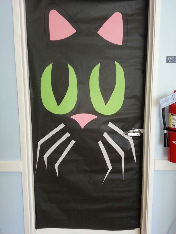 Halloween Black cat Classroom door Fall decoration By: Jaime's Palette #halloweenclassroomdoor