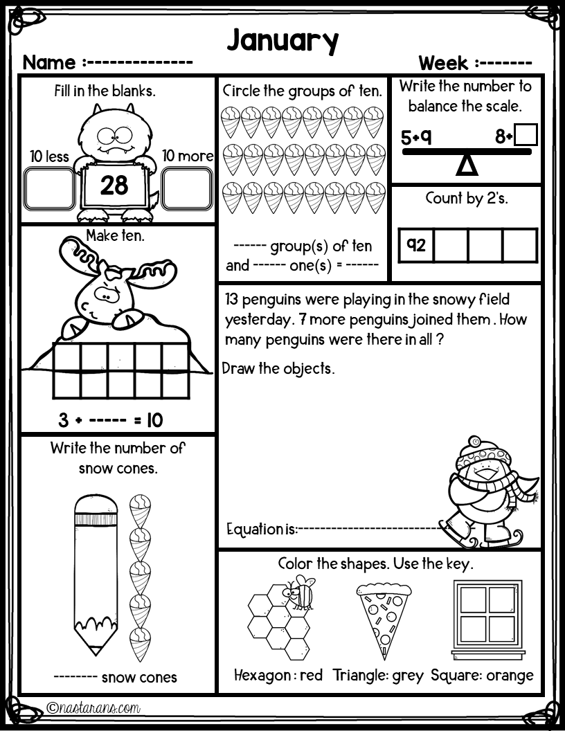 Daily Math 1st Grade Worksheets For Christmas Time Freebie Christmas Math Worksheets Daily Math Math [ 1056 x 816 Pixel ]