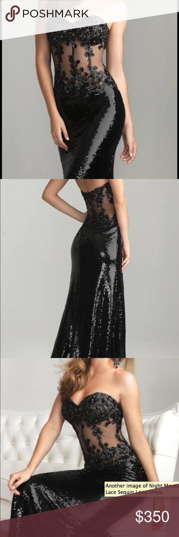 Night moves allure black sequin prom dress night moves
