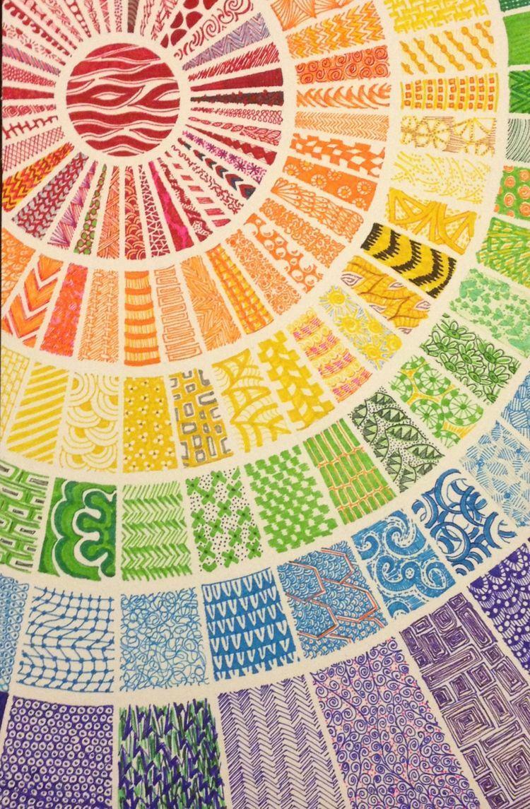 Color art mandala wonders - Colored Markers Zentangle Each Square Feels Like Fabric