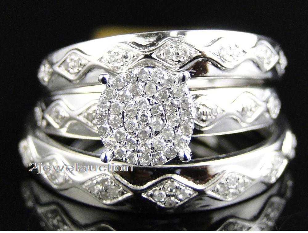 1 50ct Diamond Trio Set 14k White Gold Matching His Her Wedding Ring Bridal Band