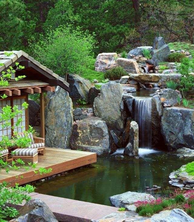 wassergarten wohlfühloase-planen ideen-gestaltung mit natursteinen - cascadas en jardines