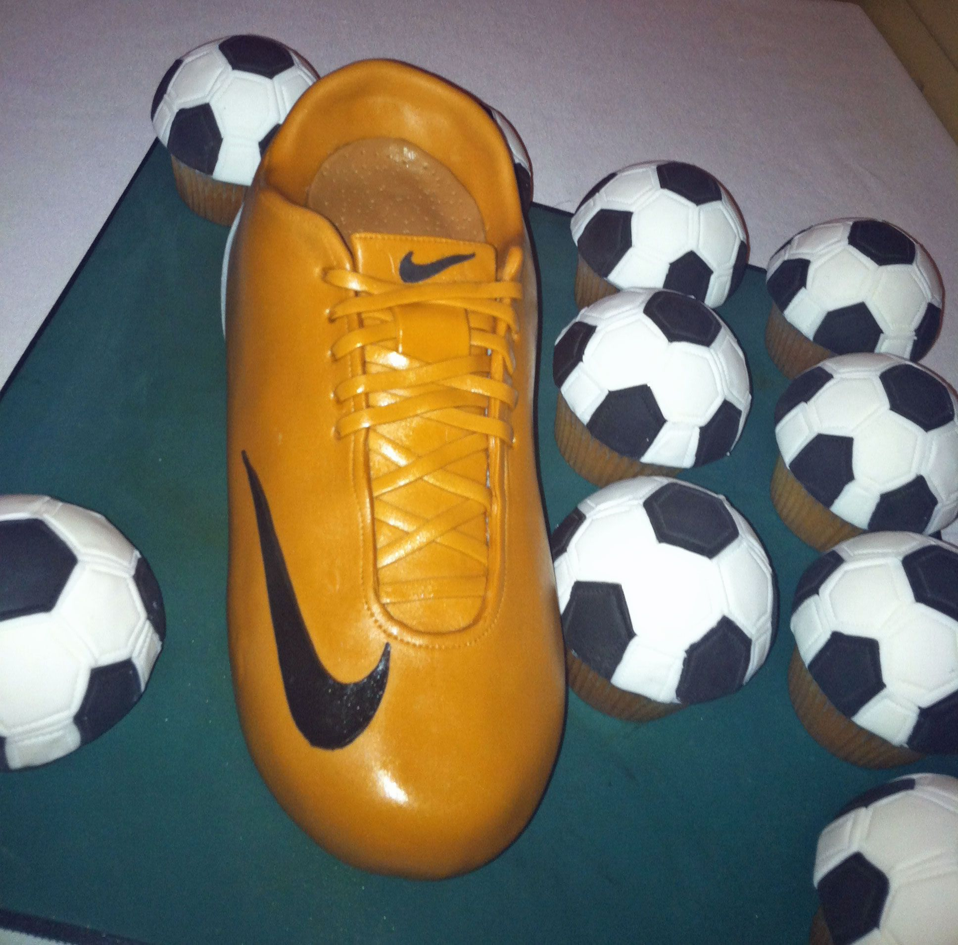Soccer Wedding Ideas: Nike Cleat Groom's Cake And Soccer Ball Cupcakes