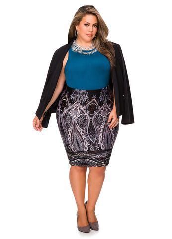 c924836f65c Paisley Scuba Pencil Skirt