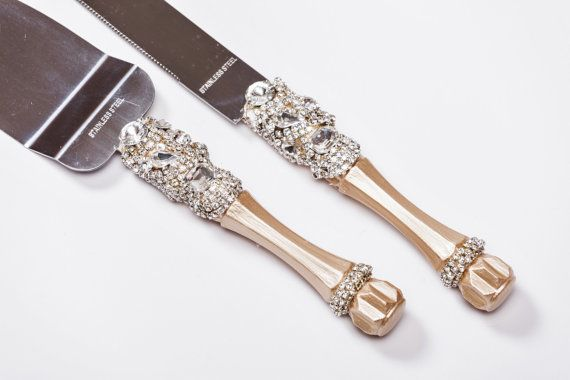 Personalized Wedding Cake Server Set Knife Cutting Silver