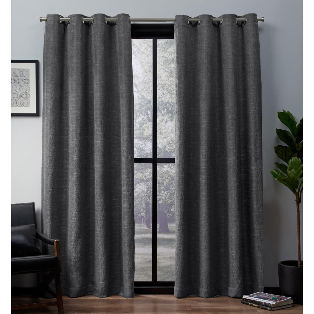 Amalgamated Textiles Leeds 52 In W X 84 In L Woven Blackout Grommet Top Curtain Panel In Black Pearl 2 Panels Drapes Curtains Room Darkening Curtains Panel Curtains