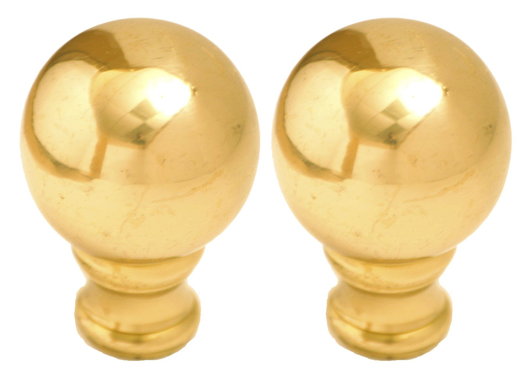 royal designs medium ball lamp finial polished brass, 2-pack, f