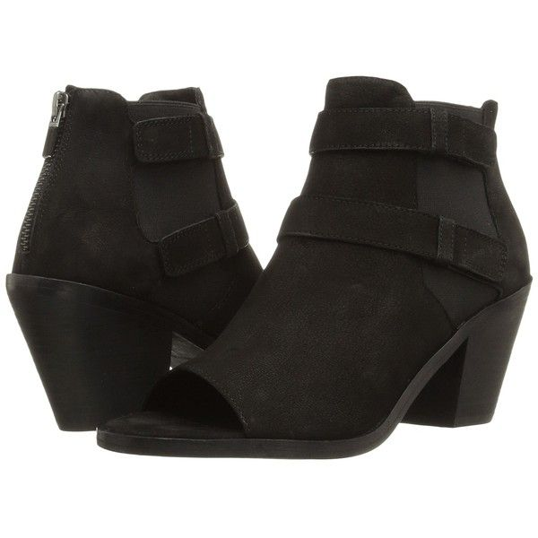 Eileen Fisher List (Black Tumbled Nubuck) High Heels ($275) ❤ liked on Polyvore featuring shoes, boots, ankle booties, ankle boots, black ankle booties, high heel ankle boots, black bootie, high heel boots and short black boots