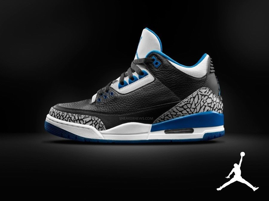 separation shoes e8883 e19c8 Details about AIR JORDAN 3 RETRO BLACK 2014 SPORT BLUE GREY WHITE NIKE  CEMENT III 136064 ...