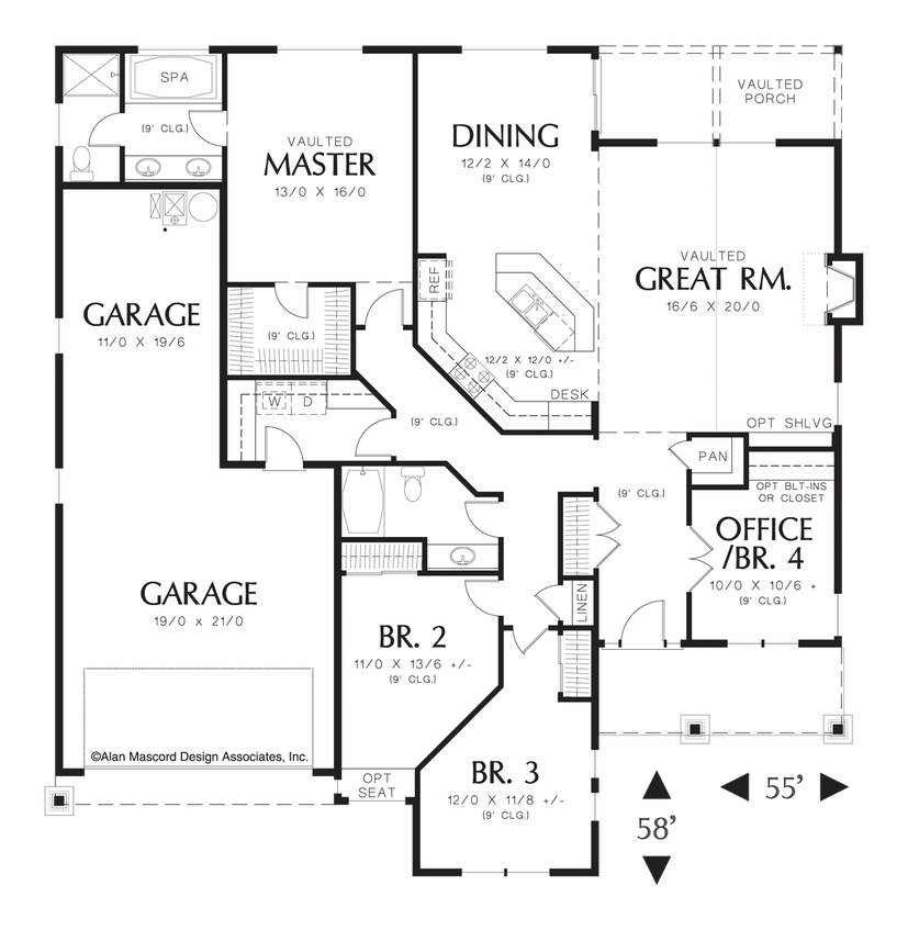 Mascord House Plan 1231fa The Sutton Craftsman Floor Plans House Plans One Story Ranch House Plans