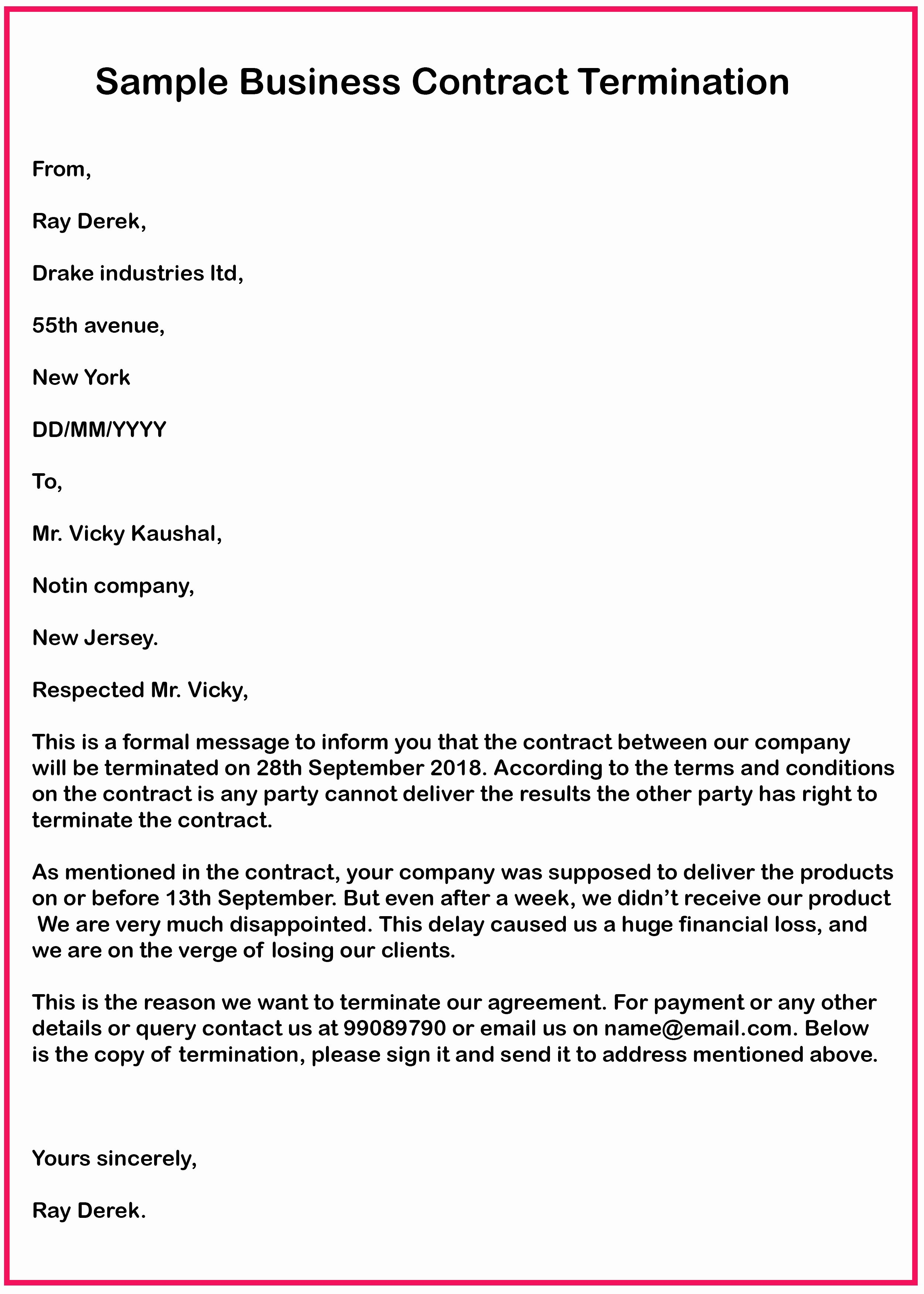 40 Business Contract Termination Letter Template in 2020