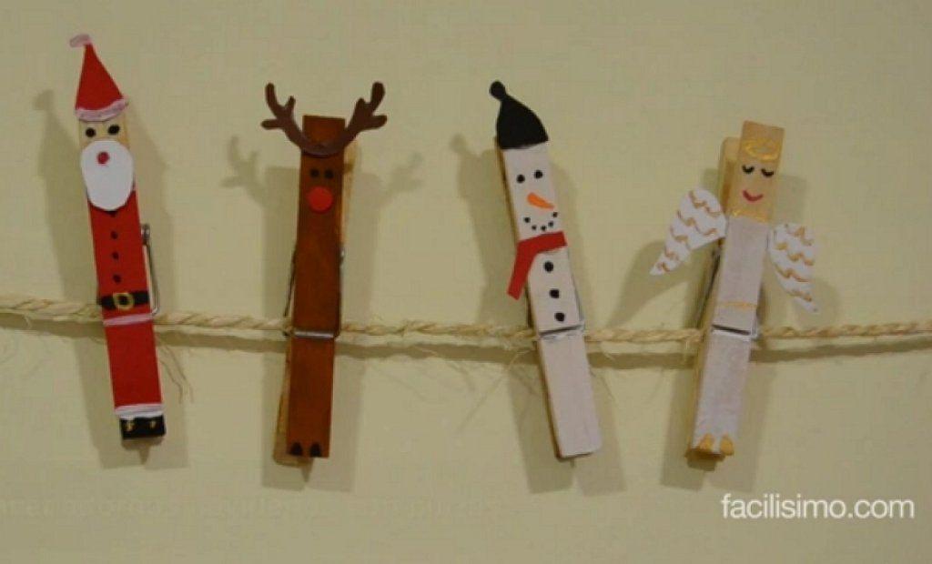 Cómo hacer adornos navideños con pinzas de la ropa | Aprender manualidades es facilisimo.com
