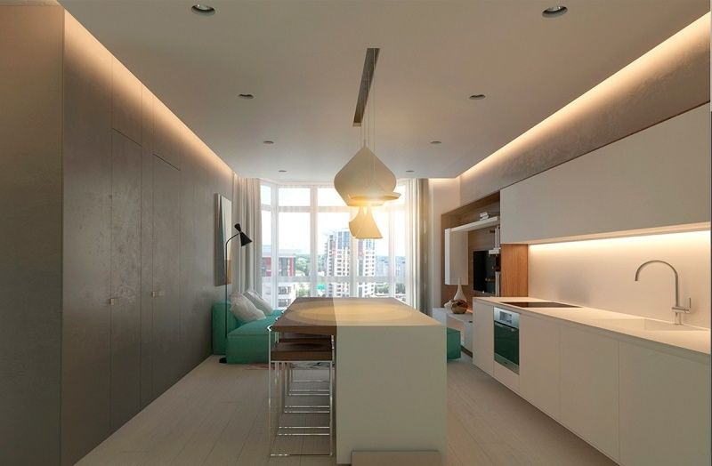 raumgestaltung ideen grau mintgruen weiss offene kueche minimalistisch kuchyne kitchen. Black Bedroom Furniture Sets. Home Design Ideas