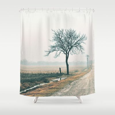 Side of the road black tree shower curtain ...