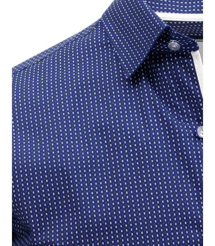 57c2b35e2cfd Modrá pánska košela so vzorom a dlhými rukávmi