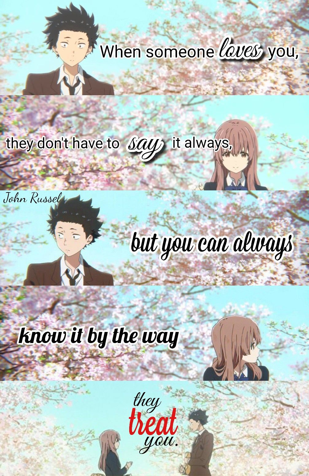 A silent voice Anime quotes, When someone loves you