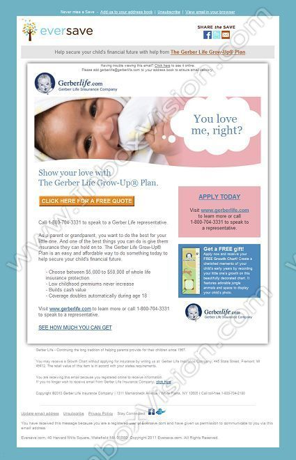 Company Eversave Com Subject Apply Now To Gerber Life Insurance Get A Free Gift Quote Email Design Newsletter Templates How To Apply