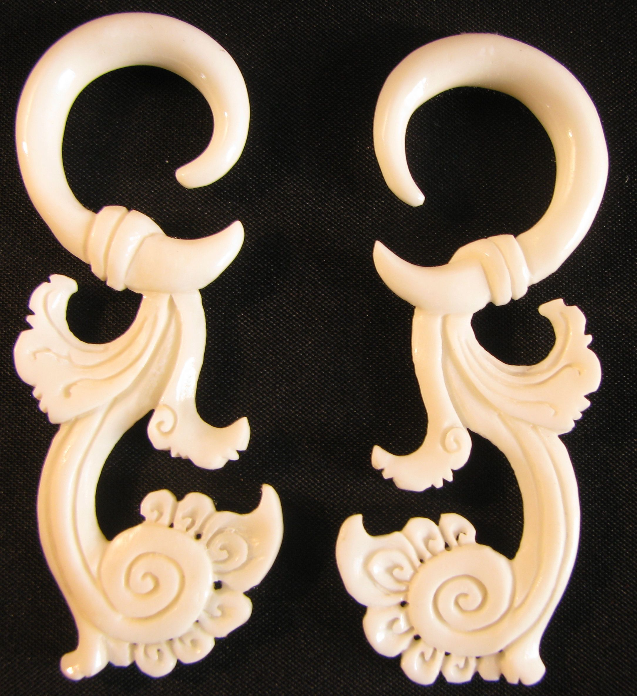 Carved Bone Spiral Gauge Earrings Hanging Gauges Ear Gauges Gauged Earrings