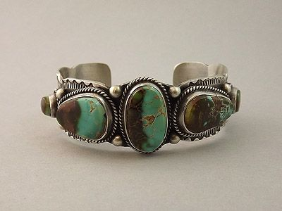 Cuff | Randy & Etta Endito (Navajo). Sterling silver and Natural Pilot Mountain Turquoise
