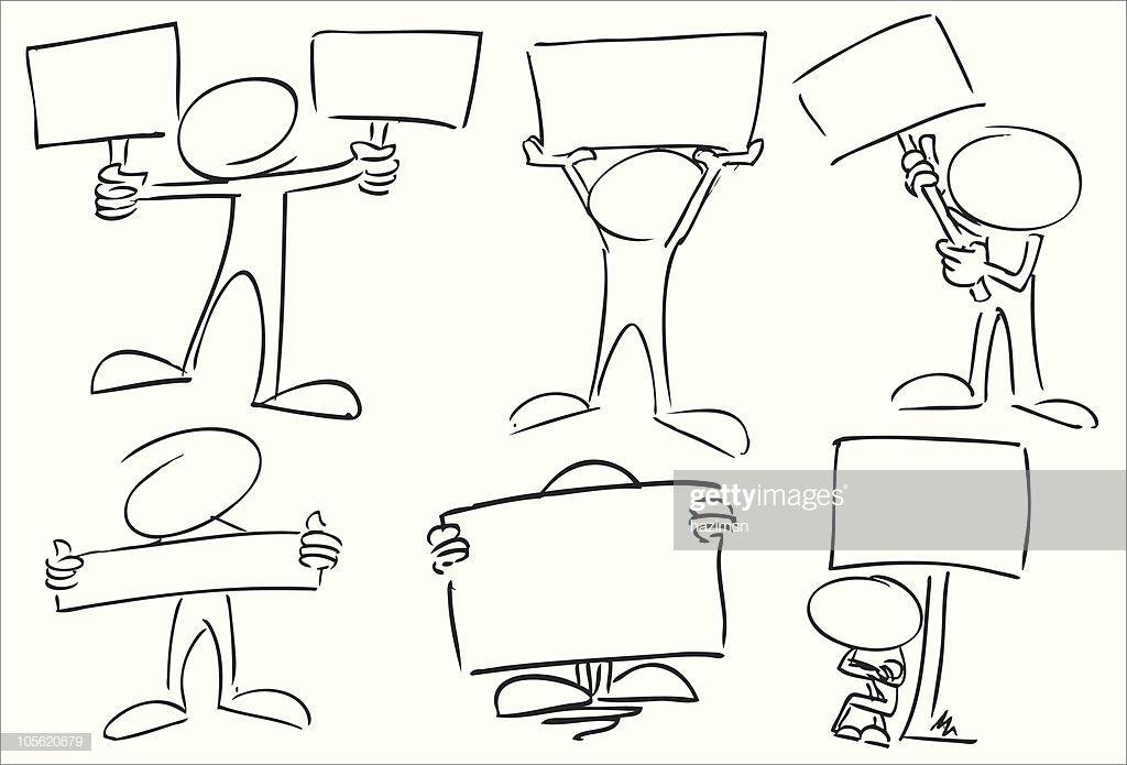 Ilustracion De Stock Caracteres Con Senal Broads Notas De Dibujo Dibujo De Munecos Hojas De Trabajo De Arte