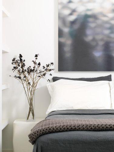 Flowers In Clear Vase Modern Loft Bedroom Modern
