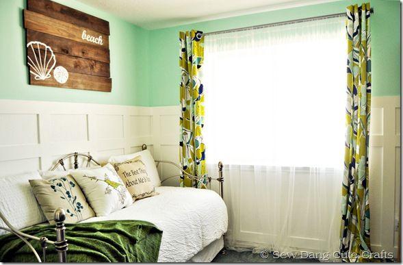 cute beach themed room! love the seafoam green walls ...