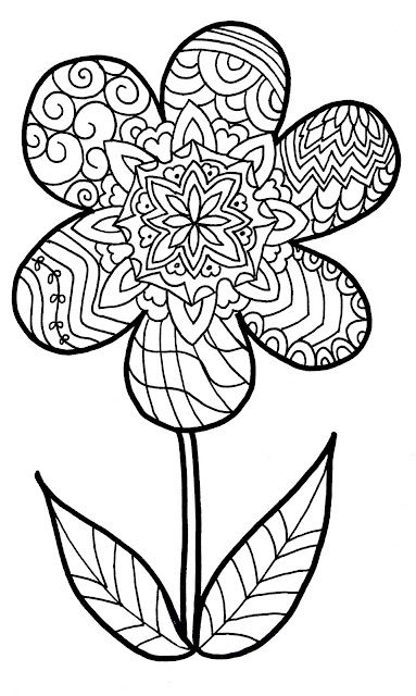 zentangle flower coloring page- printable