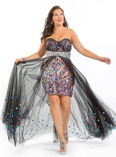 403cb453a0dd5 Party Time 6239 Plus Size Sequin Tulle Gown in 2019