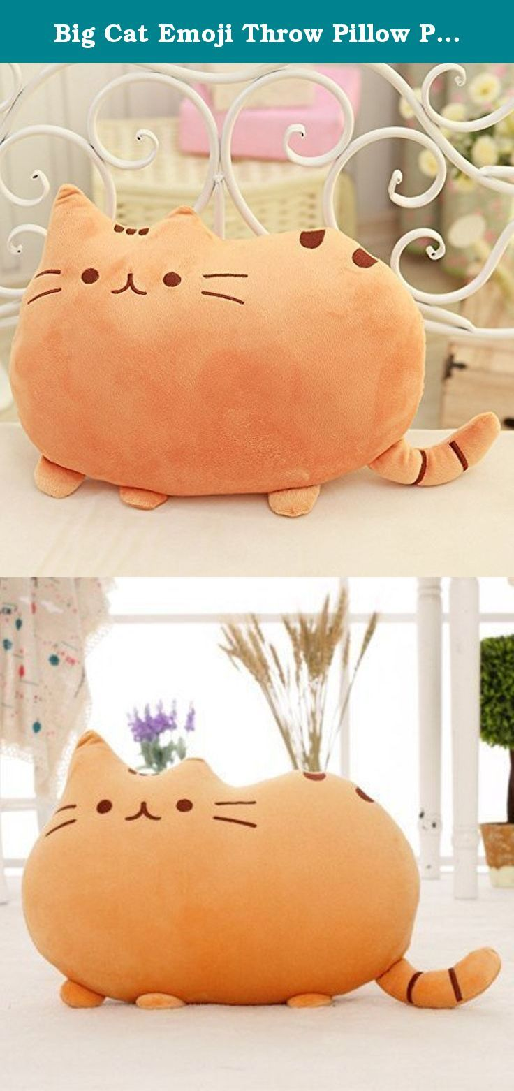 Big cat emoji throw pillow pet sofa decorative cushion soft plush