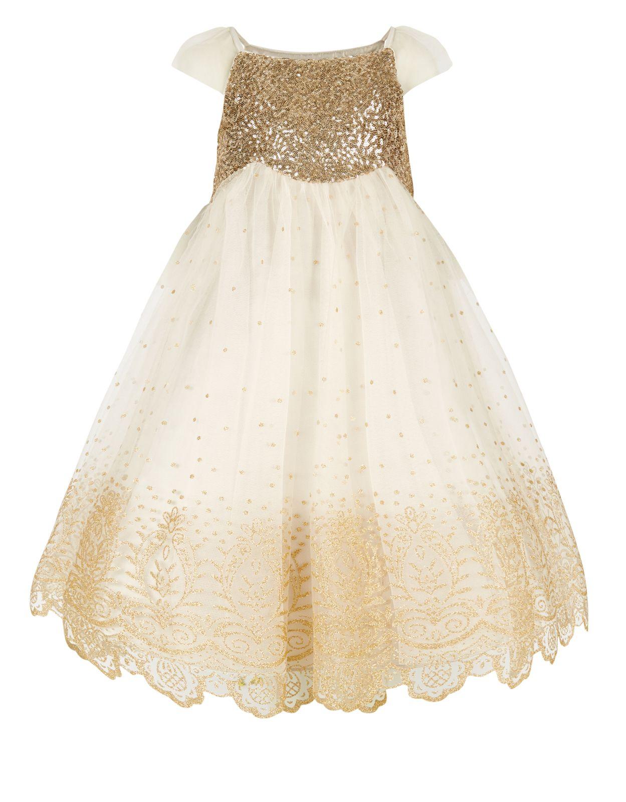 1148ecb8ab25 Estella Glitter Gold Dress | Gold | Monsoon | Flower girl | Dresses ...