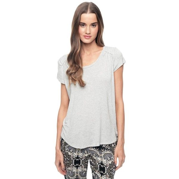Ella Moss Icon Scoop Neck Tee ($54) ❤ liked on Polyvore featuring tops, t-shirts, heather white, scoop neck t shirt, white t shirt, scoop neck tee, short sleeve scoop neck tee and scoopneck tee