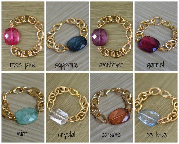 Chunky Bead guldkæde armbånd - Chunky Guld Charm Bracelet - Pink Navy Blå Amethyst Purple Garnet Mint Green Crystal Clear perle armbånd