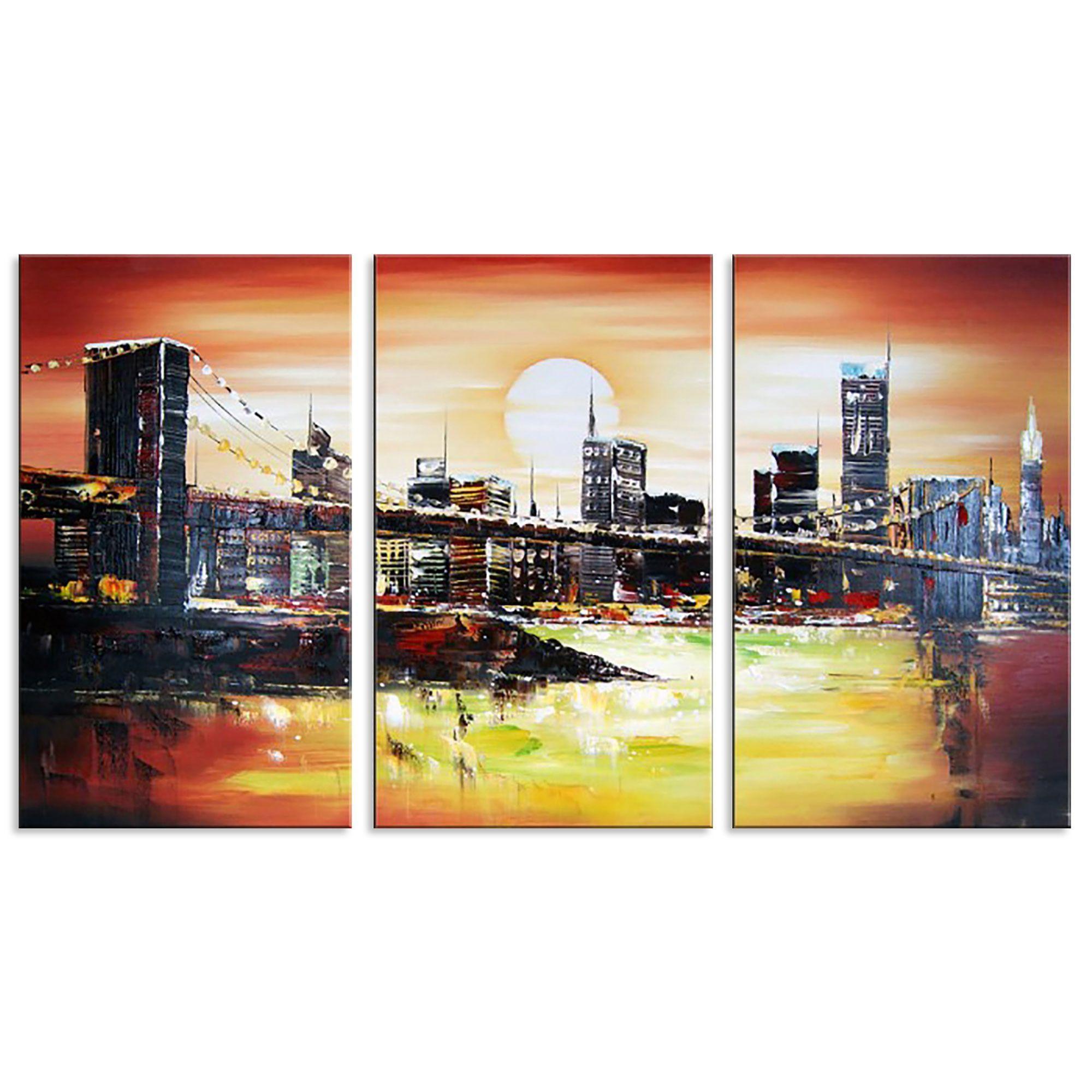 Aliexpress Com Buy 3 Pieces Wall Art New York City: Famous New York City Bridge Cityscape Canvas Wall Art Oil