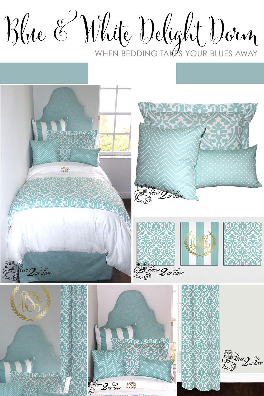 Bed sets for teenage girls blue - Canal Blue White Delight Designer Dorm Bedding Set