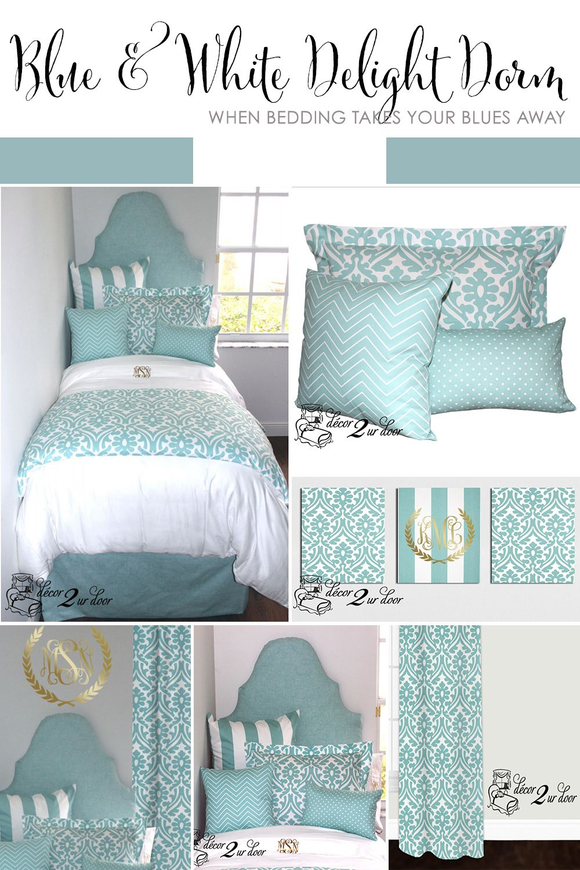 Canal Blue White Delight Designer Dorm Bedding Set