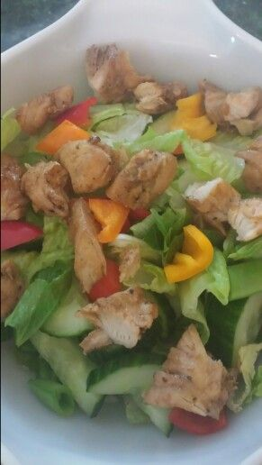 Salad for lunch with some leftover Fajita chicken!